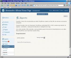 Export WordPress in formato xml
